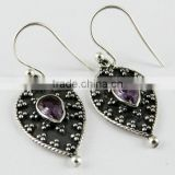 Make A Wish !! Oxidized Amethyst 925 Sterling Silver Earring, Gemstone Silver Jewelry, Handmade Silver Jewelry