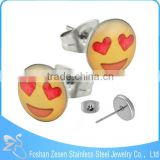 ZS20470 Cute customized emoji picture earring surgical steel round plastic stud earrings