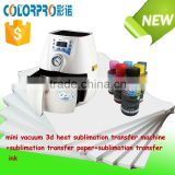 Hot combo set 3d mini vacuum heat sublimation transfer machine+sublimation transfer paper/ ink with mugs/phone cases