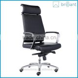 893-2A Black Leather office chair Aluminum alloy electroplating metal armrest and base with headrest