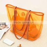 Transparent style 2 in One Women Leather Bags Handbag Clutch Tote Shoulder Bag . PVC beach bags orange
