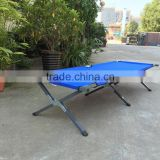 Foldable camping bed with steel tube, high weight capacity folding cot