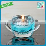 2015 Hot sale round candleholder glass with handle
