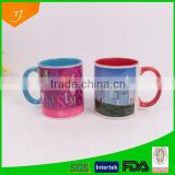 11oz red inner ceramic mugs sublimation bulk wholesale,color glazed ceramic mug sublimation