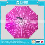 Fashion Pink and White Girly Polka Dots Cheap stick Umbrella, Sun/Rain Compact Parasol Umbrella