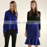 Women Asymmetric Silk Chiffon Blouse With Bow Tie Spring Top Shirt OEM ODM Type Clothing Factory Manufacturer From Guangzhou
