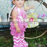 china cheap wholesale toddler girl summer short sleeve chevron ruffle pant boutique outfit set