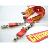 Professional id card polyester silk screen lanyard with oval hook for school or business,camera lanyard