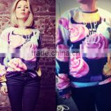 Wholesale beautiful flower 3D printing sweatshirt,lady sexy clothing