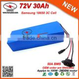 Electric Scooter 3000W 72V 30Ah Li-Ion 72V Battery Pack in Samsung 18650 High Power Cell