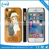 Wholesale Wood With 3D Colored Drawing Printer Back Case Cover Shell For iPhone 5S 6 6Plus