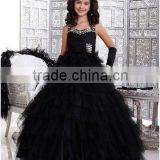 Free shipping 2013 ruffled halter tiered custom-made ball gown black pageant flower girl dress CWFaf4530