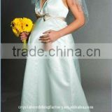 2015 Halter satin custom-made floor length maternity dress CWFam1505