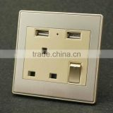 High quality usb wall mounted power outlet socket usb charging wall socket