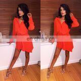 red color shirt dress girls casual dress with bottons 2015 new design dress