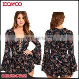 Wholesale Women Deep V Lace Neck Rompers Navy Blue Floral Print Sexy Girls Long Flutter Sleeve Rompers