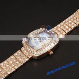 Bling Bling Obround Watch Dial Plate with Rhinestone Inlaid Metal Watchband Quartz Watch