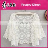 fashion bat sleeve girl lace blouse/vest /cover-up top white Sheer Lace elegant lace tops for ladies
