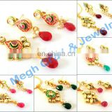 Wholesale Real Kundan pendant set - Indian Ethnic Kundan Jewelry - Gold plated Kundan Necklace set - Punjabi Kundan pendant set