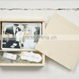 Custom logo and color unfinished wooden usb and photo keepsake box with compartment                                                                         Quality Choice