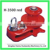 Work by hand operated winch use for poultry farming equipment