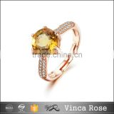 New fashion rose gold sterling silver gemstone rings big citrine fashion stone ring                                                                         Quality Choice