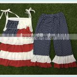 USA July 4th wholesale children's boutique clothing set baby clothes infant girls patriotic clothing sets