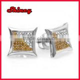 White & Yellow Round Diamond Micro Pave Setting Kite Shape Stud Earrings designer silver earring with pave cz