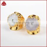 Fashion solar quartz sun flower agate druzy ring latest gold ring designs for girls big stone ring designs woman gold ring model
