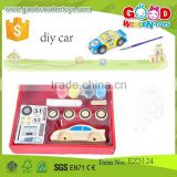 classical item wooden car toys box size 18*18*5 cm OEM intelligence wooden DIY car EZ5124