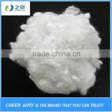 100% recycled hcs polyester staple fiber 15D*64MM made from waste PET bottle Flakes usde for filling pillow cushion wadding