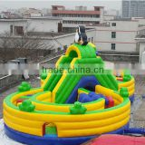 Amusing giant high quality outdoor children round inflatable playground with exciting slide