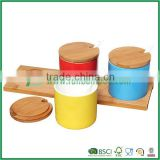 Set of 3 Red / Yellow / Blue Ceramic Spice Jars / Condiment Pots w/ Spoons & Bamboo Lids & Tray