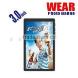 2015 new products 3.0inch wear photo tag, video name tag, photo badge, multi photo frame, photo frame with lanyard