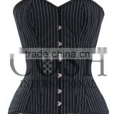 Fullbust Steel Boned Cotton Corset, Black And White Pinstripes Waist Training Curvy Double Steel Boned Corset Ci-001