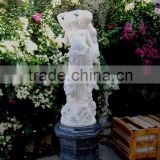Nude Man and Woman Statue White Marble Stone Hand Carved Sculpture for Home Garden No 03