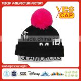 Black Pink Knit Beanie Hat with top ball
