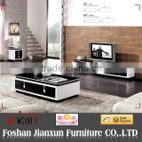 887# Black glass top wood coffee table with drawers