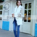 New Flash Style Rex Rabbit Fur And Leather Jacket Women's Rabbit Fur Dress Double Face Fur Coat