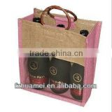 Eco-friendly cheap Natural Burlap burlap fabric wine bottle jute bag for promotion