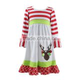 2016 Kaiyo children christmas dress red stripe ruffle dress with applique children frocks designs boutique kids clothes