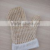 Promotional natural color SPA Bath mitten/shower glove