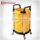 Hotel plastic collection trolley/ housekeeping maid cart trolley/linen canva cleaning truck