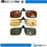 Wenzhou sunglasses factory fancy cheaper man mirror colored lens plastic night vision clip on sun glasses for driving
