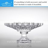 2014 new arrival wholesale cheap bulk decorative round tempered clear bead glass plate for weddings with pedestal