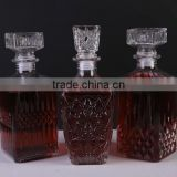 Wine Decanter & Whisky Glasses, Crystal Square Whiskey Decanter with Stopper.