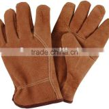Durable brown full pig split leather driver gloves ZM726-G