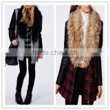 2014 New arrival cool fashion lady FAUX FUR LEATHER BIKER SLEEVE COAT