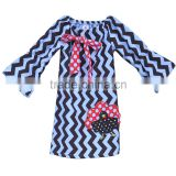 new design white and black wavy line mandarin sleeves baby girl dress with bow and turkey embroidered