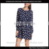 2017 summer women ladies long sleeve dress dot chiffon new style loose style
